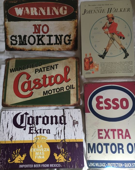 5 metal advertising signs