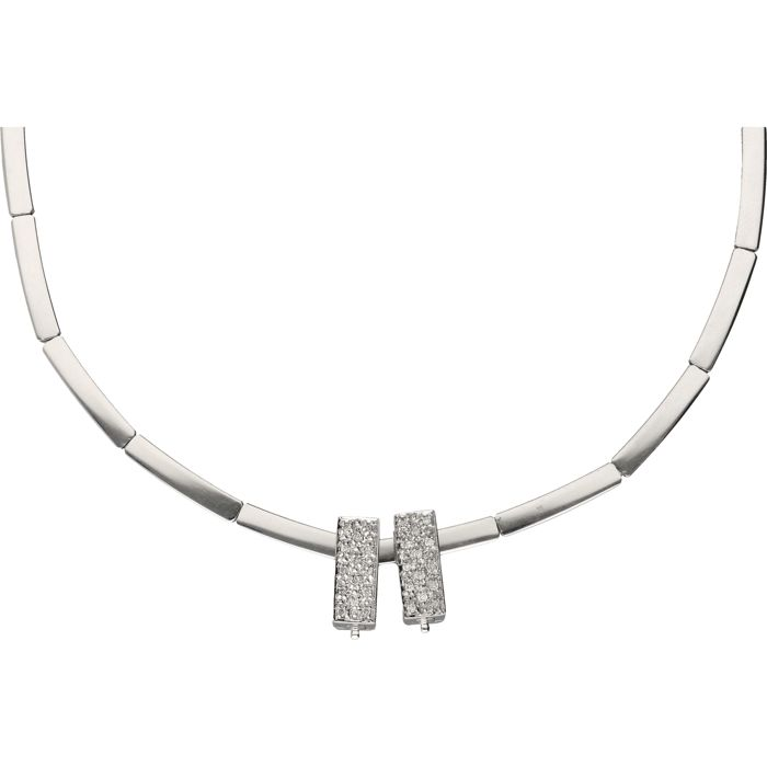 14 kt - White gold link necklace equipped with 2 pendants set with 24 brilliant cut diamonds - Length: 45 cm