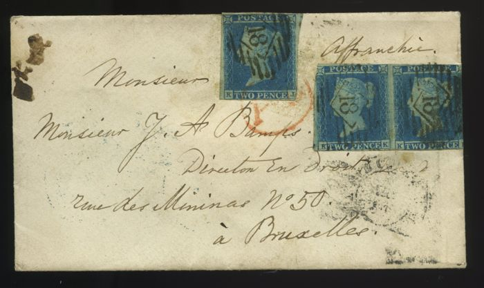 Great Britain Queen Victoria 1841 - envelope with 2d plate 4 pair and single - 6d rate to Belgium