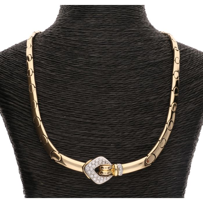 Leo Pizzo - 18 kt - Yellow gold link necklace set with 28 brilliant cut diamonds of in total approx. 0.28 cents in a white gold setting - Length: 43 cm