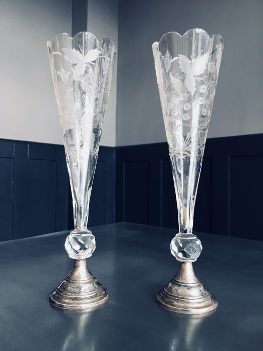 Fine Pair Of Dutch Flute Glasses Or Vases With Silver Feet Marked