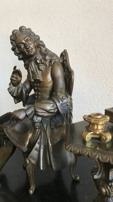 A bronze sculpture of the French philosopher Voltaire - France - circa 1880-1900