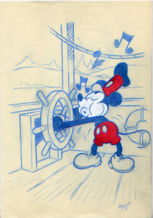 "Xavier Vives Mateu - Original study-sketch - based on the first apparition of Mickey Mouse in the short movie ""Steamboat Willie"" 1928"