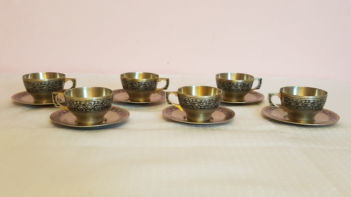 Six cups in silver and niello, Russia, ca. 1958