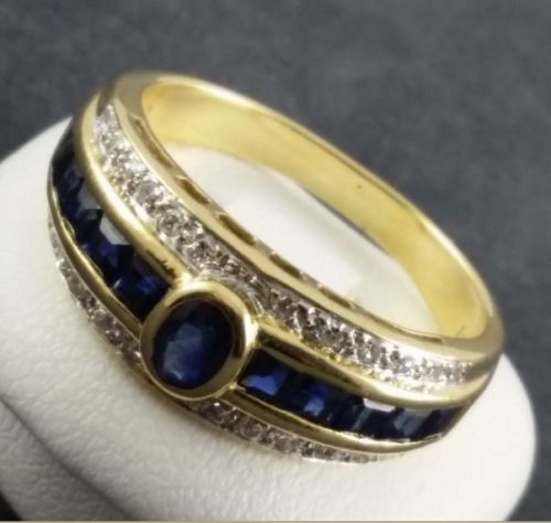 Sapphire ring - 750 yellow gold - 11 small sapphires + 24 small diamonds - Ring size: 53