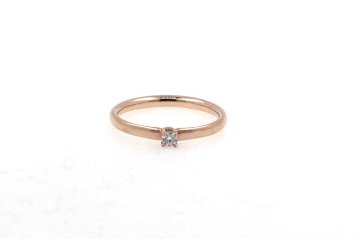 14 kt rose gold solitaire ladies' ring - diamond 0.05 ct F / SI. Size 56 (EU)