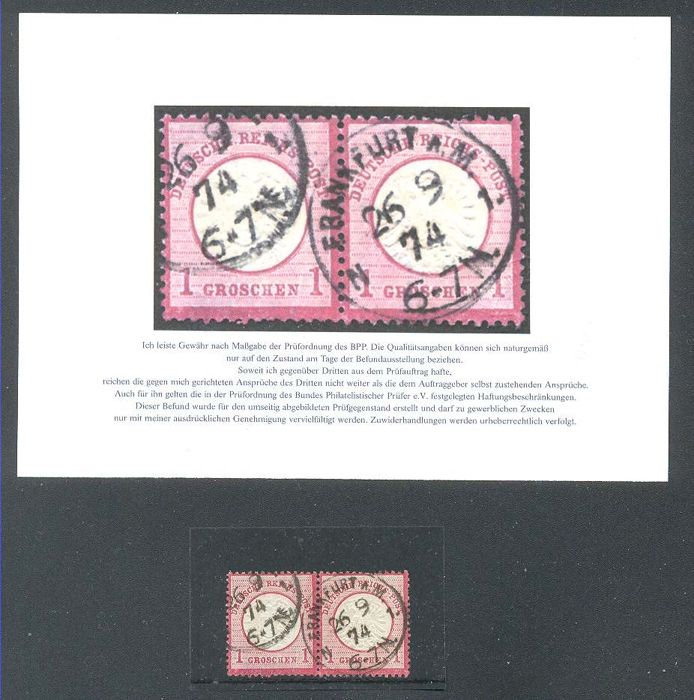 Deutsches Reich 1872 - The Stamps 1 Gr. - pair - a rare use of groshen in the kreuzer area.