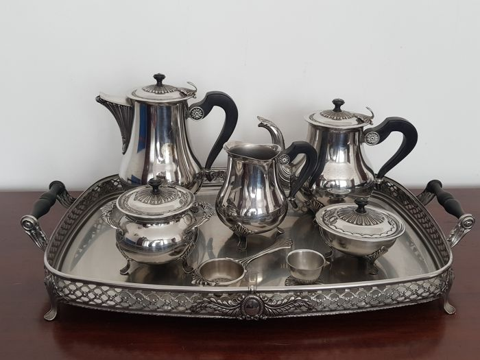 Magnific full service tea set with 8 pieces - 20th century
