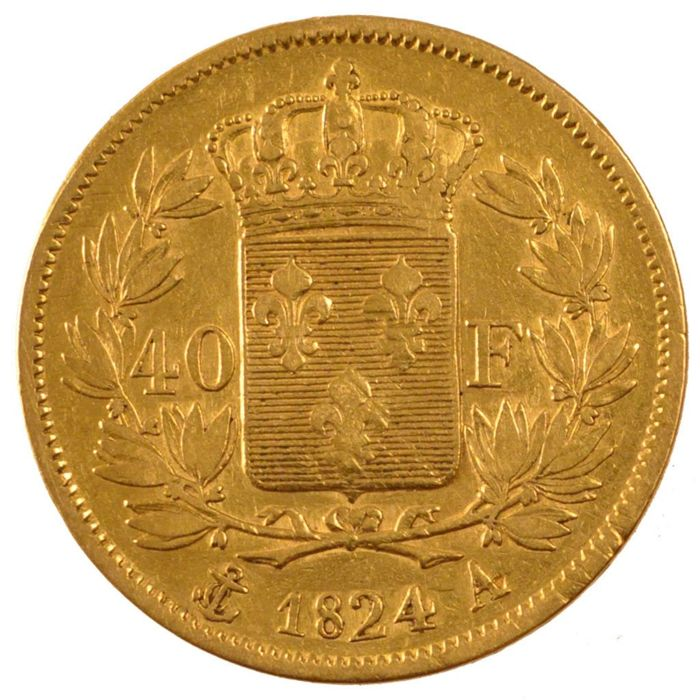 France – 40 Francs 1824 A (Paris) – Charles X – gold