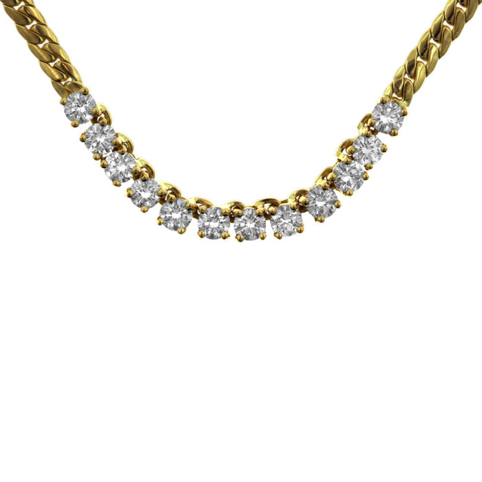 white necklace diamond in gold