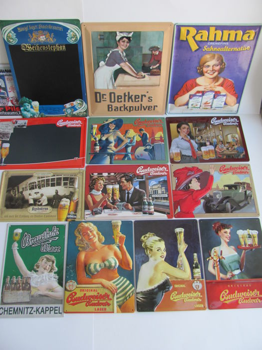 14 metal promotional signs, international, late 20th century