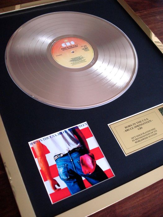 Bruce Springsteen Born In The USA 24ct Gold Plated Disc Record LP Album Award