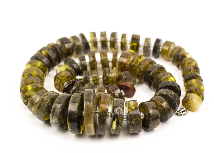 Vintage natural Baltic Amber multi colour - honey necklace, 73 grams