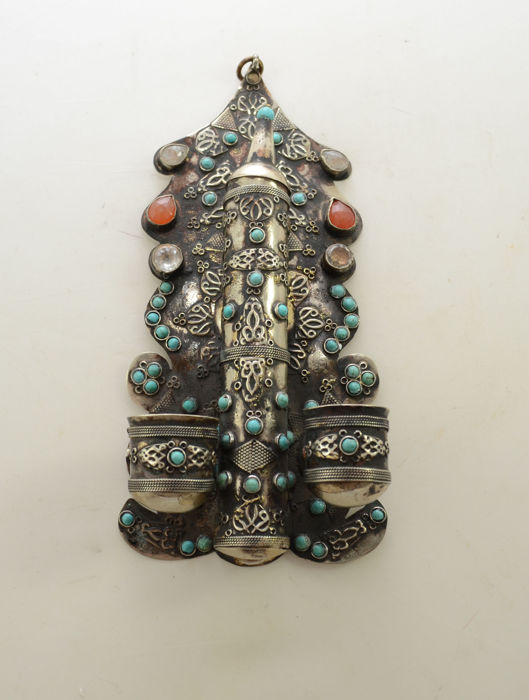 A silver Mezuzah case and Shabbat candlestick - mounted with gemstones - Tunesia - 20th century