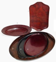 Lot of five Bakelite items: four trays and one bowl