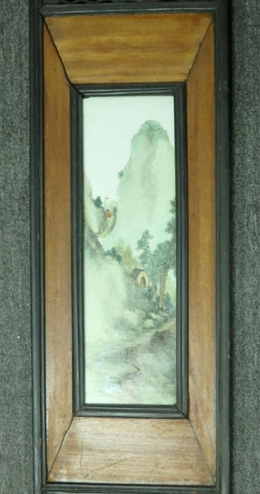 Large panel of Hand painted 淺絳彩 famille-rose scenic view tile in carved wood frame - China - republic period, 1920/30