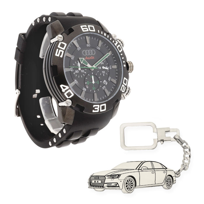 Lot of S&S men's watch for Audi + Sterling silver key ring with a reproduction of the A4