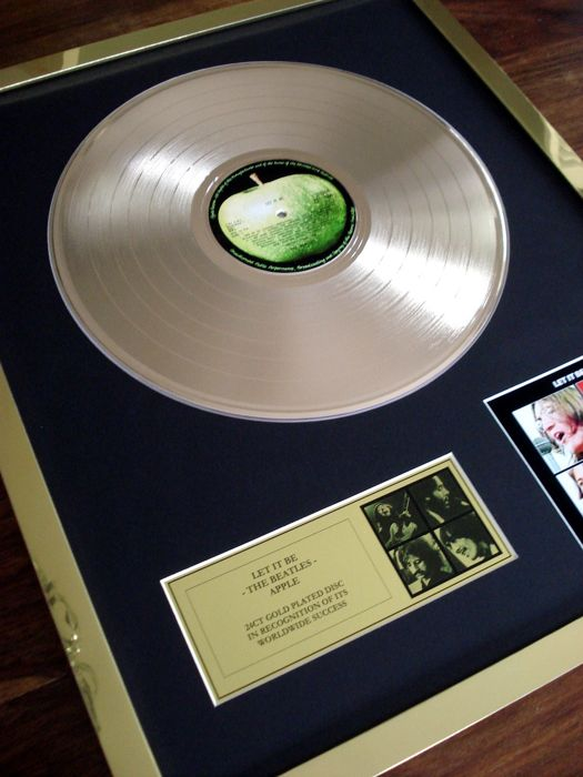 The Beatles Let It Be 24ct Gold Plated Disc Record LP Album Award