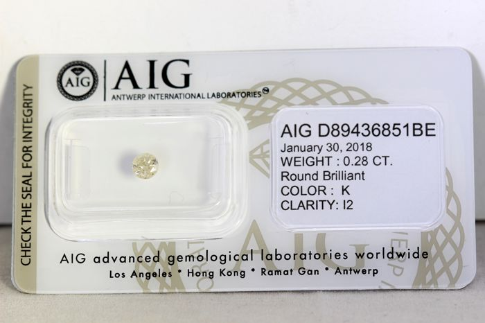 AIG Diamant - 0.28 ct - K,  I2 -  * NO RESERVE PRICE *