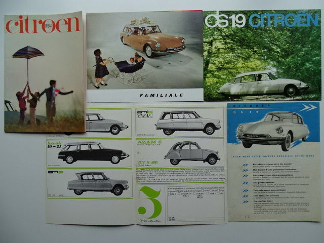 1955 - 1967 - CITROEN ID 19 / DS 19 Saloon & Break, DS 21, etc - mixed lot of 5 original sales brochures