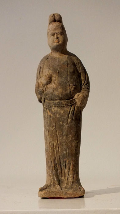 An Exceptional Painted Pottery Figure of a Courtier, Tang Dynasty, H- 29 cm.