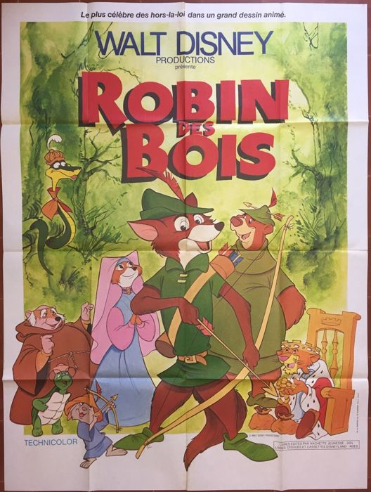 Disney French Movie Poster Robin Des Bois Robin Hood 1978