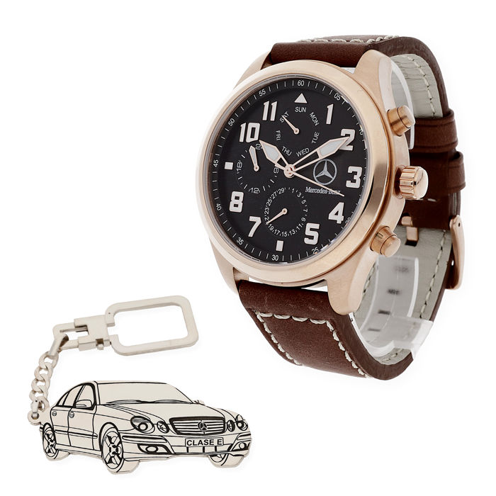 S&S men's watch for Mercedes + Sterling silver key ring with a Mercedes-Benz E-class reproduction
