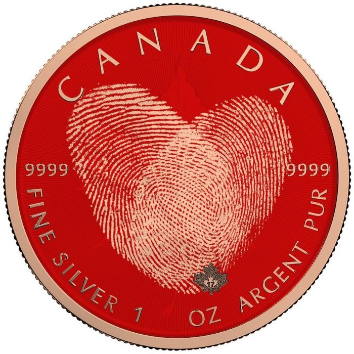 Canada - 5 Dollars 2018 Valentine's Day Fingerprint - Maple Leaf - 1 - Silver