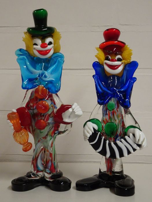 Two vintage Murano Clowns