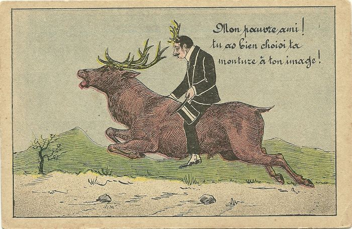 Hunting and humour: 70 old postcards on hunting and humour. (cards between 1903 and 1920 and some from the 50s).