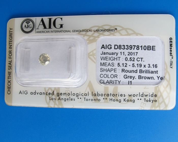 0.52 ct-Round Brilliant Diamond-Greyish Brownish yellow-I1-AIG certificate-Sealed-Cut Grade:Very Good-
