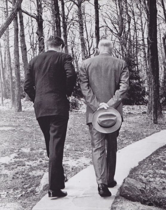 Paul Vathis (1925-2002)/AP - 'Serious steps', Presidents Kennedy and Eisenhower, Camp David, 1961