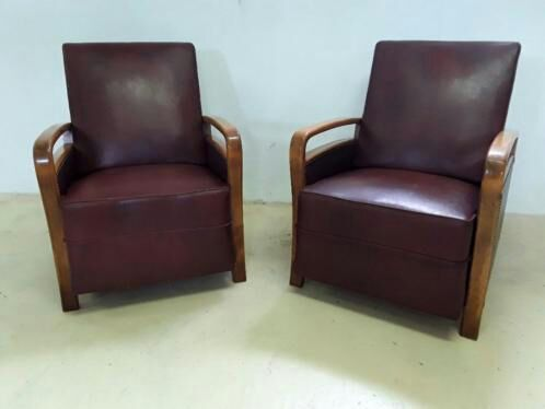 Two Brown vintage armchairs - Art Deco style - middle 20th century
