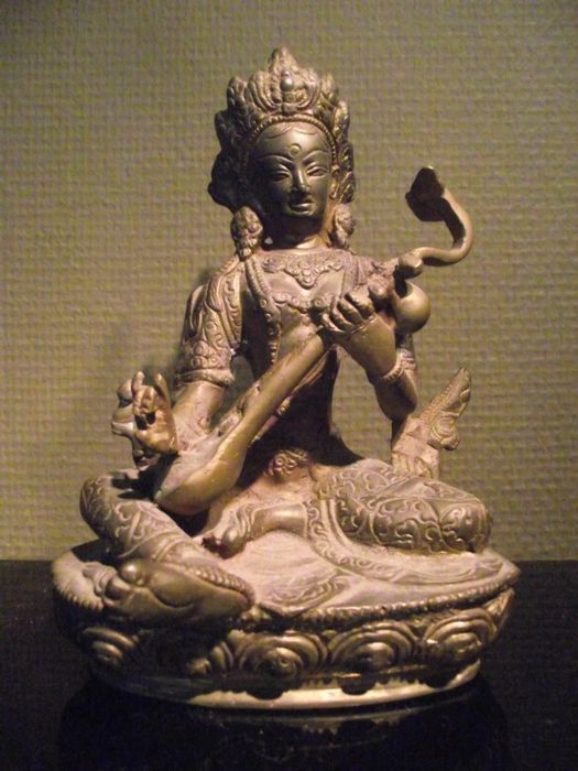 Bronze Tara sitting on a throne playing a mandolin – Tibet – 2nd half 20th century