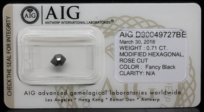 0.71 Cts Certified Natural Fancy Black Diamond-No Resrve