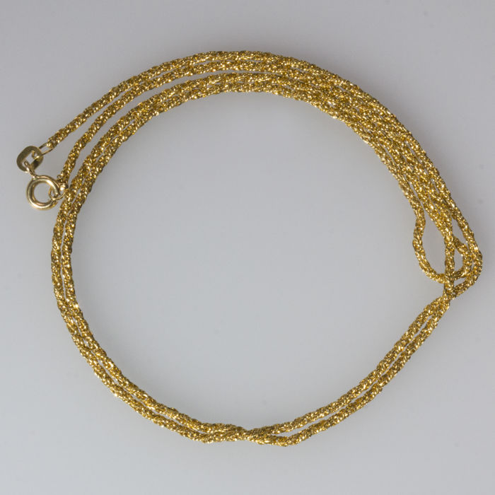 Solid 18 kt yellow gold necklace cord type links - Length: 61.5 cm