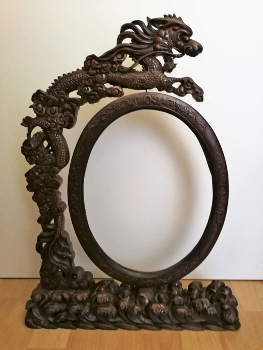 Wood sculpture photo frame with dragon patterns and acanthus vines - China - around 1880