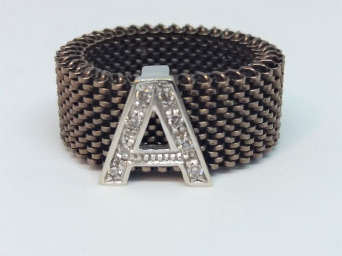 Elastic ring by Pascià in steel with 750 white gold letter A and diamonds