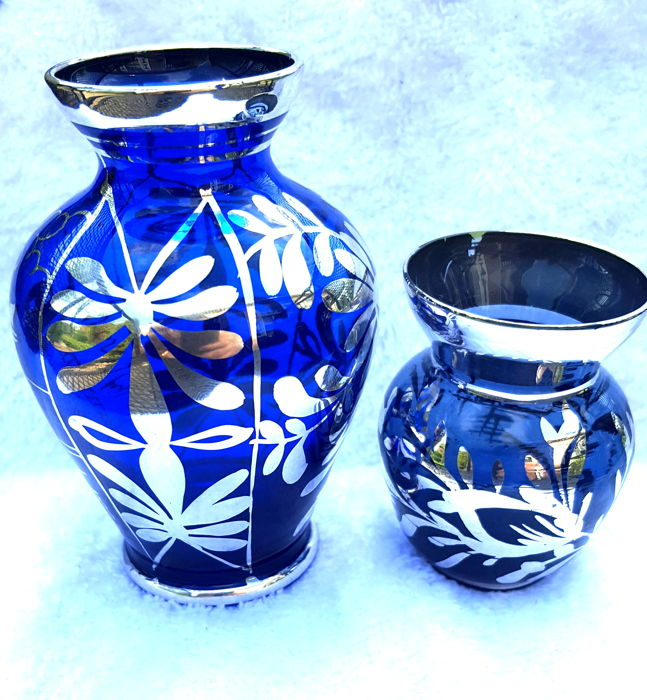 Two cobalt blue vase sterling silver overlay