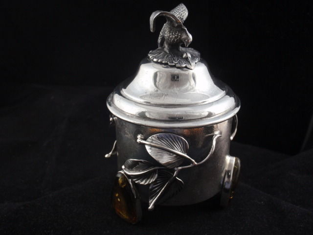 Silver sterling jewellery box with Amber Baltic