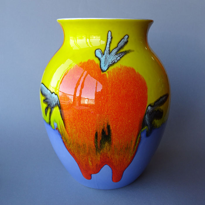 Poole Pottery Large Earthenware Vase Drip Glaze And Bright