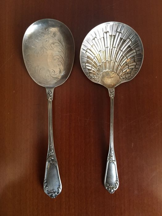 Two serving spoons in silver 800/000, signed - Italy, 19th century