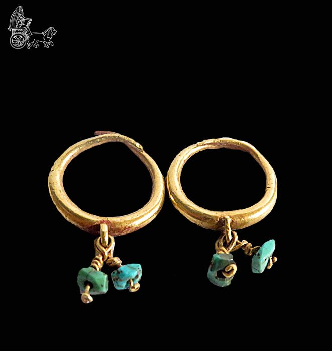 Late Roman/Early Byzantine Gold and turquoise Earrings