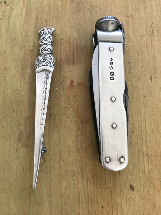 silver cased Victorian pipe smokers knife and kilt pin