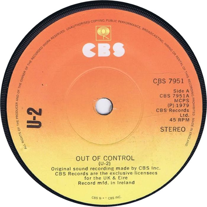 U2 - Out Of Control / Stories For Boys / Boy/Girl (CBS 7951) made in  Ireland 1979 PS 7