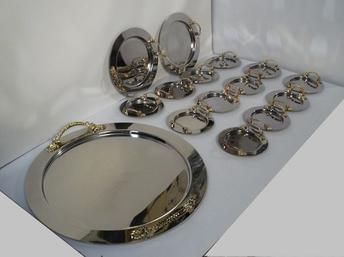 Full table dessert set - Inoxpram in 18/10 Stainless steel and 100% pure 24 kt gold - New - 1960s - Made in Italy