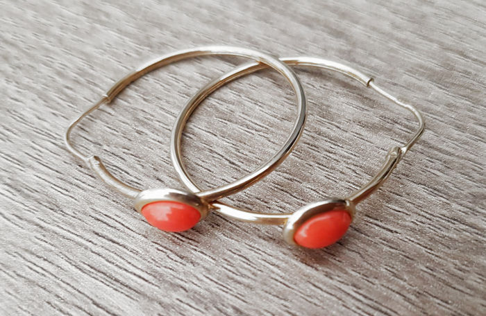 Antique silver earrings with coral