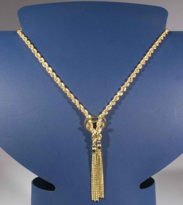 18 kt Hollow cord in yellow gold with fringe pendant - Length: 47 cm + pendant 5 cm