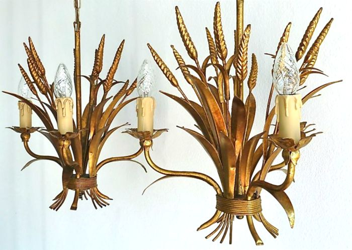 Unknown producer - Pair Gilt Florentine wheat sheaf chandeliers