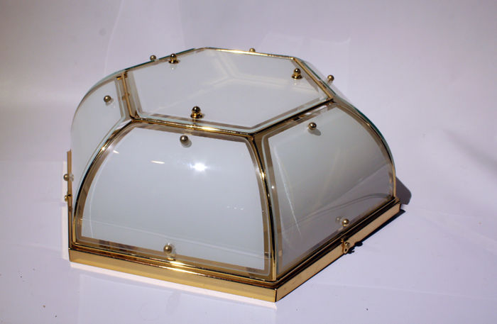 Producer unknown - Hollywood Regency ceiling lamp, made from brass & glass